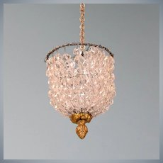 """French Demi-Lune Crystal Chandelier Late 1800s Large 1"""" Scale"""