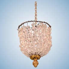 "French Demi-Lune Crystal Chandelier Late 1800s Large 1"" Scale"