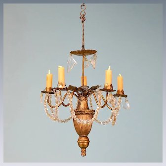 """Gilt Cast Metal 5 Arm Chandelier with Crystal Garlands Late 1800s Large 1"""" Scale"""