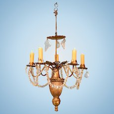 "Gilt Cast Metal 5 Arm Chandelier with Crystal Garlands Late 1800s Large 1"" Scale"