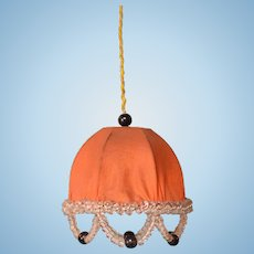 "Antique German Dollhouse Electric Pendant Lamp with Silk Shade Early 1900s Large 1"" Scale"