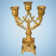 """Antique French Gilt Metal Dollhouse Candelabra Late 1800s 1"""" Scale"""