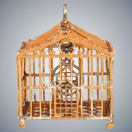 "Antique German Dollhouse Gilt Soft Metal Birdcage Early 1900s 1"" Scale"
