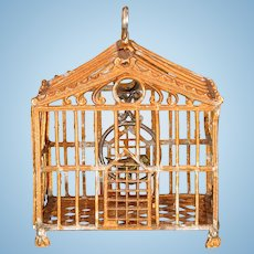 """Antique German Dollhouse Gilt Soft Metal Birdcage Early 1900s 1"""" Scale"""