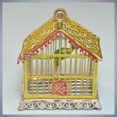 "Gilt Soft Metal Dollhouse Birdcage by Babette Schweizer 1930s Large 1"" Scale"