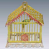 "Babette Schweizer Gilt Soft Metal Dollhouse Birdcage 1930s Large 1"" Scale"