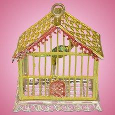 "Babette Schweizer Gilt Soft Metal Dollhouse Birdcage 1930s Large 1"" Scale"