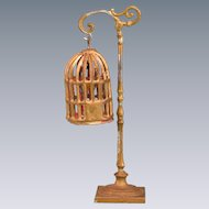"Antique German Dollhouse Gilt Soft Metal Birdcage and Stand Early 1900s 1"" Scale"