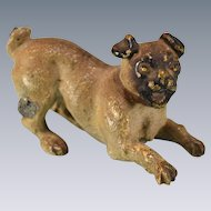 "Antique Austrian Bronze Cold Painted Miniature Pug Dog Early 1900s 1"" Scale"