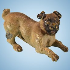 """Antique Austrian Bronze Cold Painted Miniature Pug Dog Early 1900s 1"""" Scale"""