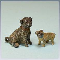"2 Vintage Cast Metal Miniature Pug Dogs Small 1"" Scale"
