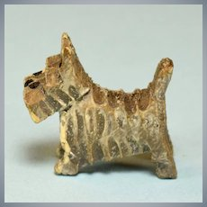"""Vintage Miniature Hand-Carved Wood Scottie Dog Small 1"""" Scale"""
