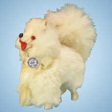 """Vintage West German Miniature Fur Spitz Salon Dog Mid 1900s Large 1"""" Scale"""