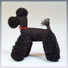 "Vintage Miniature Black Wool Standard Poodle Mid 1900s Large 1"" Scale"