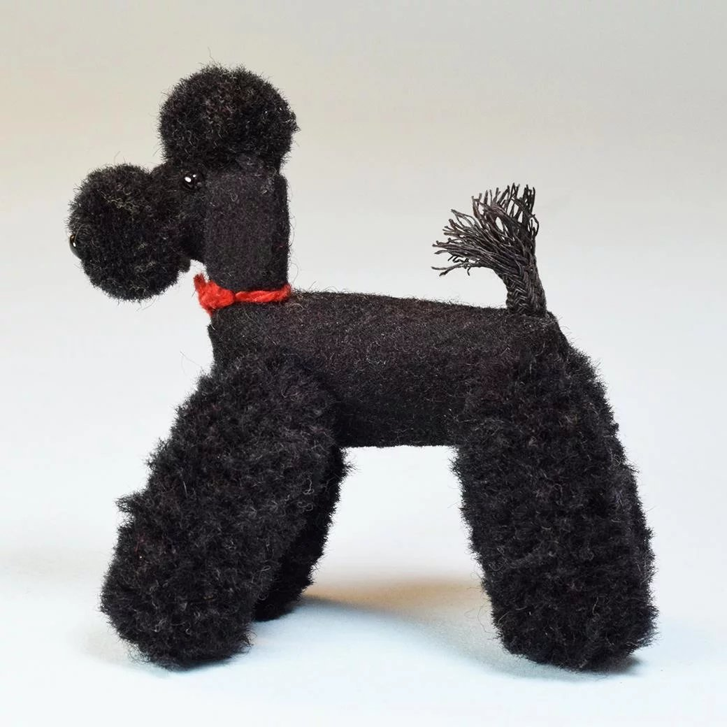 Vintage Miniature Black Wool Standard Poodle Mid 1900s Large 1 Scale Curley Creek Antiques Collectibles Ruby Lane