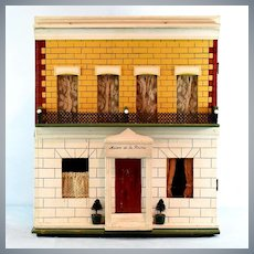 """Antique English Box-Back Dollhouse by Silber & Fleming Late 1800s 1"""" Scale"""