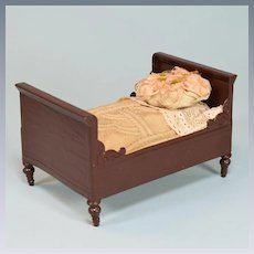 """Antique German Dollhouse Sleigh Bed by Rock & Graner 1880s - 1900 1"""" Scale"""