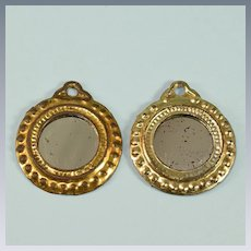 """Pair of Antique Dollhouse Gilt Pressed Tin Round Mirrors Early 1900s Small I"""" Scale"""
