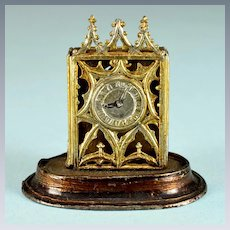 """Gilt Soft Metal Gothic Mantle Clock Late 1800s 1"""" Scale"""