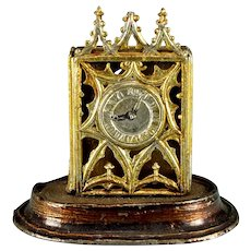 "Gilt Soft Metal Gothic Mantle Clock Late 1800s 1"" Scale"