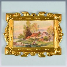 """Antique German Dollhouse Ormolu Picture Frame by Erhard & Son Late 1800s 1"""" Scale"""