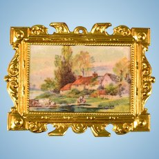 "Antique German Dollhouse Ormolu Picture Frame by Erhard & Son Late 1800s 1"" Scale"
