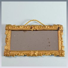 """Antique Miniature Ormolu Mirror by Erhard & Son Late 1800s 1"""" Scale"""