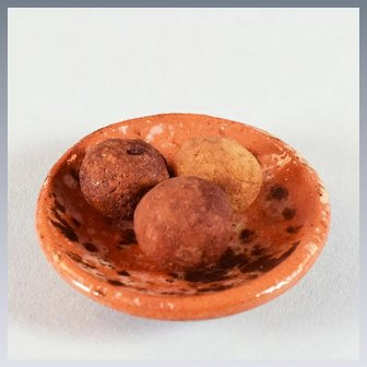 """Vintage End of Day Glazed Pottery Bowl with Potatoes Large 1"""" Scale"""