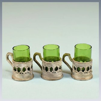 """Set of 3 Antique German Dollhouse Green Drinking Glasses with Soft Metal Holders Early 1900s Large 1"""" Scale"""