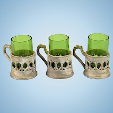 "Set of 3 Antique German Dollhouse Green Drinking Glasses with Soft Metal Holders Early 1900s Large 1"" Scale"