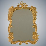 "Antique Dollhouse Gilt Cast Metal Mirror Large 1"" Scale"
