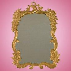 """Antique Dollhouse Gilt Cast Metal Mirror Large 1"""" Scale"""