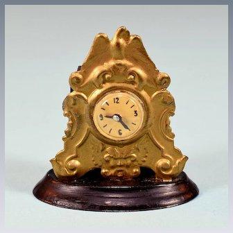 "Vintage Dollhouse Gilt Pressed Tin Mantle Clock 1"" Scale"