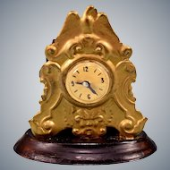 "Vintage Dollhouse Gilt Pressed Tin Mantle Clock 1"" Scale"