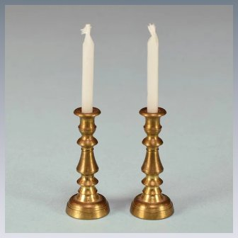 """Pair of Vintage Dollhouse Brass Candlesticks 1"""" Scale"""