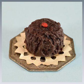 """Vintage Dollhouse Chocolate Cake with Paper Lace Doily Small 1"""" Scale"""