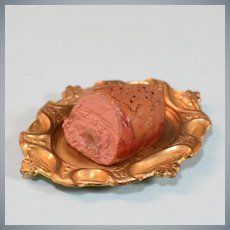 """Dollhouse Miniature Ham on a Gold Platter 1940s – 1950s 1"""" Scale"""