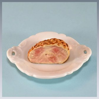 """Miniature Dollhouse Ham on a China Platter 1940s – 1950s Large 1"""" Scale"""
