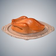 "Miniature Dollhouse Roast Turkey on Metal Platter 1940s – 1950s 1"" Scale"