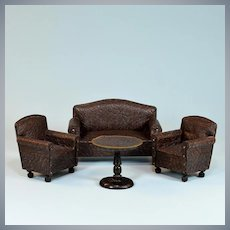 "Antique Dollhouse 4 Pc. Leather Living Room Sofa Set 1920s – 30s Large 1"" Scale"