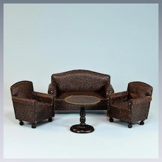 """4 Pc. Dollhouse Leather Living Room Sofa Set 1920s – 30s Large 1"""" Scale"""