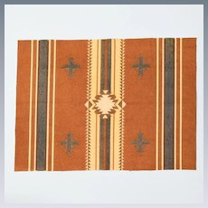 """Extra-Large Antique Dollhouse Tobacco Felt Rug Native American Design Early 1900s 1"""" Scale"""
