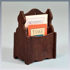 """German Red Stained Dollhouse Magazine Rack 1910 - 1920s 1"""" Scale"""