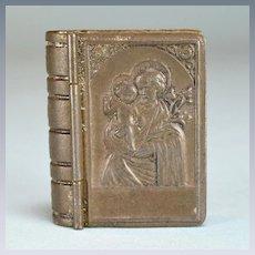 "Vintage Tin Religious Souvenir Book Box Pill Box Czechoslovakia Large 1"" Scale"