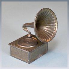 "English Cast Metal Dollhouse Gramophone 1"" Scale"