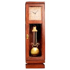 """Vintage Dollhouse Wooden Grandfather Clock 1"""" Scale"""