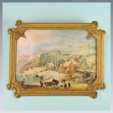 """Large Vintage Print Picture in Frame by Johann Christian Fochtenberger Large 1"""" Scale"""