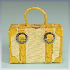 """Antique German Dollhouse Wicker Suitcase Candy Container 1920s - 1930s 1"""" Scale"""