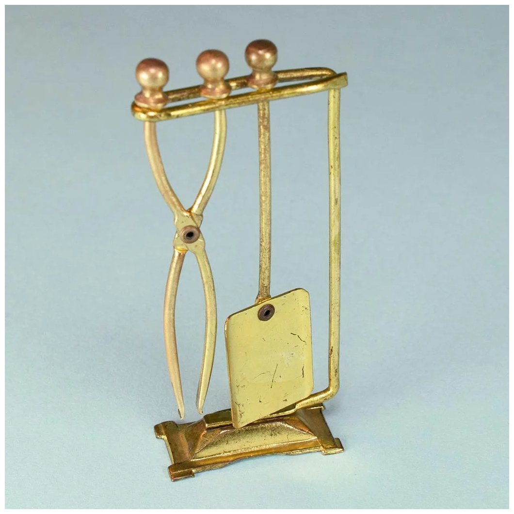 Vintage Dollhouse Brass Fireplace Tool Set Large 1 Scale Curley