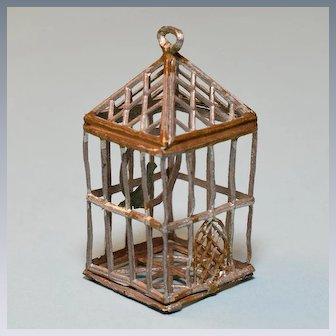 "German Gilt Soft Metal Dollhouse Birdcage 1920 – 1930s Small 1"" Scale"